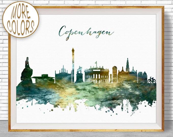 Copenhagen Print, Office Decor, Copenhagen Skyline, Copenhagen Denmark, Office Art, Travel Art, Watercolor City Print, ArtPrintZone