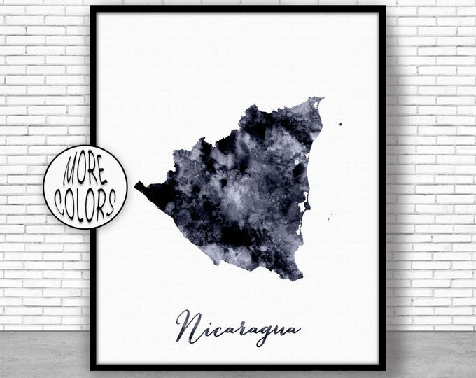Nicaragua Print Office Art Print Watercolor Map Nicaragua Map Print Map Art Map Artwork Office Decorations Country Map ArtPrintZone