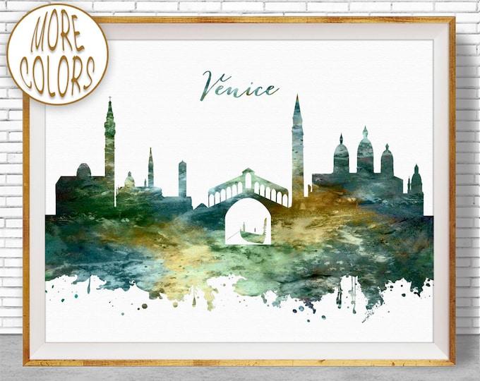 Venice Print, Venice Skyline, Venice Italy, Office Wall Art, City Skyline Prints, Skyline Art, Cityscape Art, ArtPrintZone