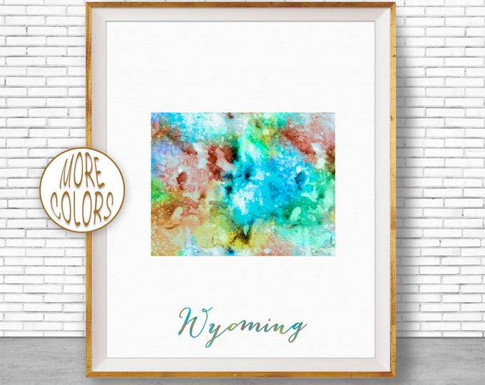 Wyoming State Wyoming Decor Wyoming Print Wyoming Map Art Print Office Print Watercolor Map Office Poster Office Decor ArtPrintZone