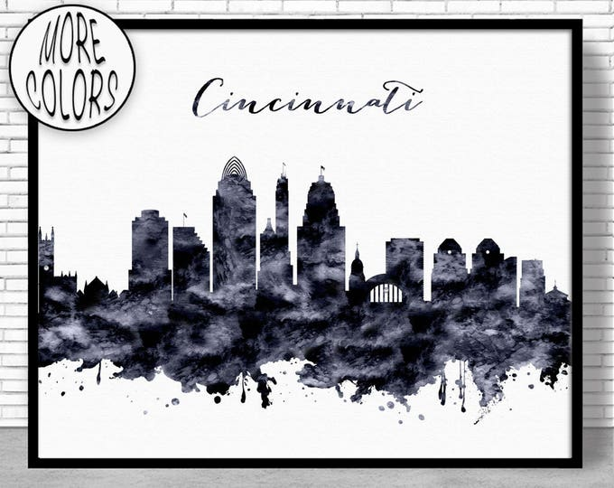 Cincinnati Print Cincinnati Skyline Cincinnati Ohio Office Decor Office Art Watercolor Skyline City Wall Art Print ArtPrintZone