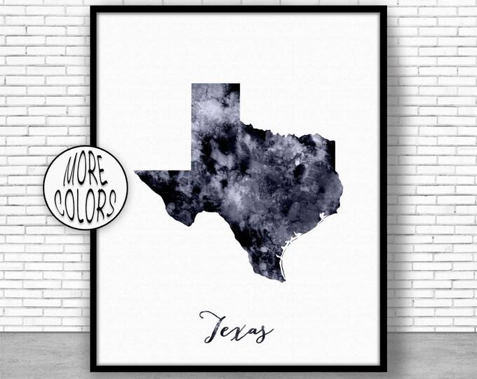 Texas Art Print Texas Decor Texas Print Texas Map Art Print Map Artwork Map Print Map Poster Watercolor Map Office Art Print ArtPrintZone