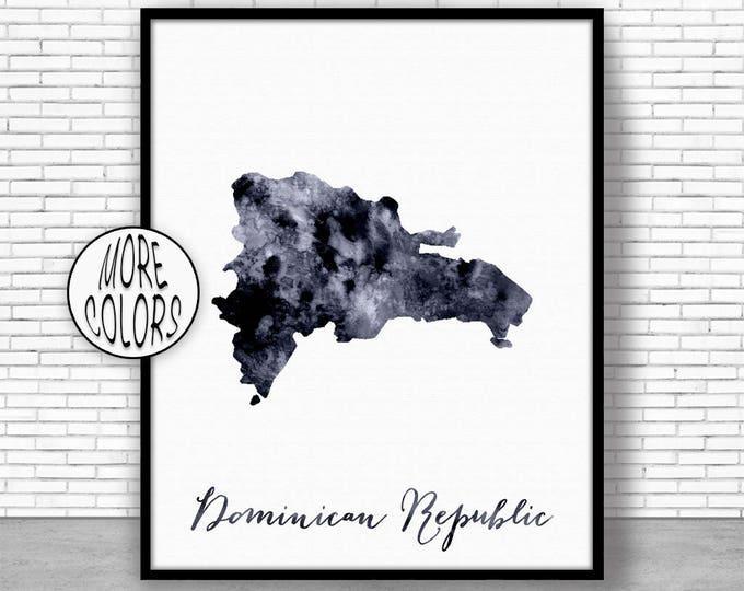 Dominican Republic Print Office Art Print Watercolor Map Map Print Map Art Map Artwork Office Decorations Country Map ArtPrintZone