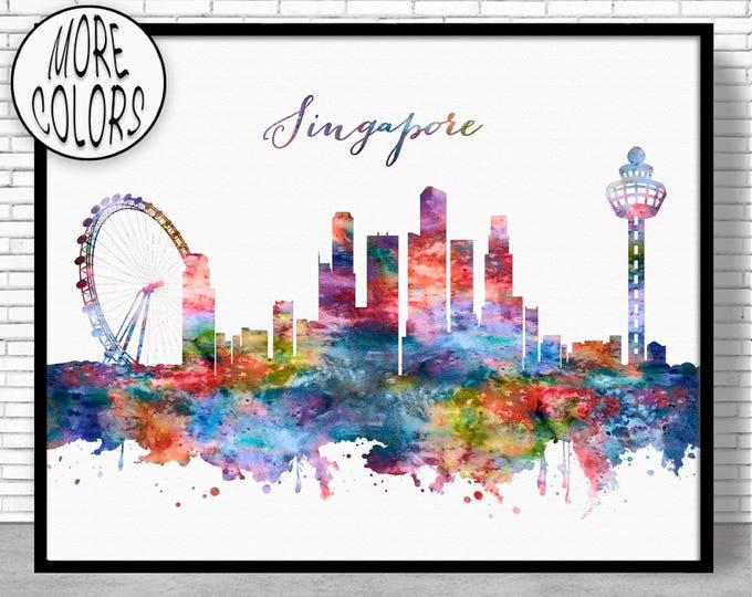 Singapore Print, Singapore Skyline, Singapore Art, Office Wall Art, City Skyline Prints, Skyline Art, Cityscape Art, ArtPrintZone
