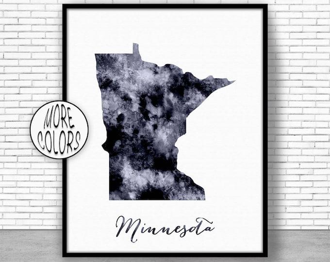 Minnesota Art Print Minnesota Decor Minnesota Print Minnesota Map Art Print Map Print Map Poster Watercolor Map Office Poster ArtPrintZone