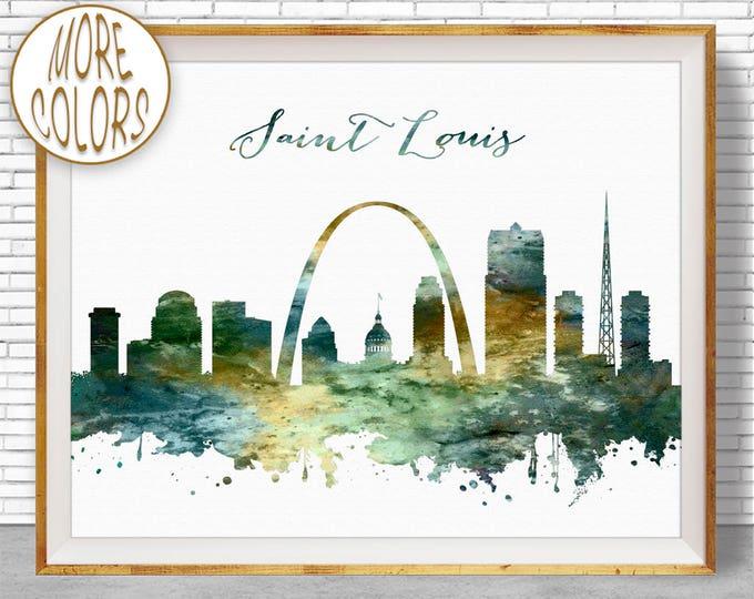 Saint Louis Print Saint Louis Skyline Saint Louis Missouri Office Gifts City Skyline Prints Skyline Art ArtPrintZone