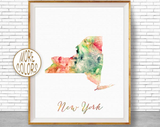 New York Map Art Print New York Art Print New York State Map Print Office Art Map Poster Watercolor Map Office Poster ArtPrintZone