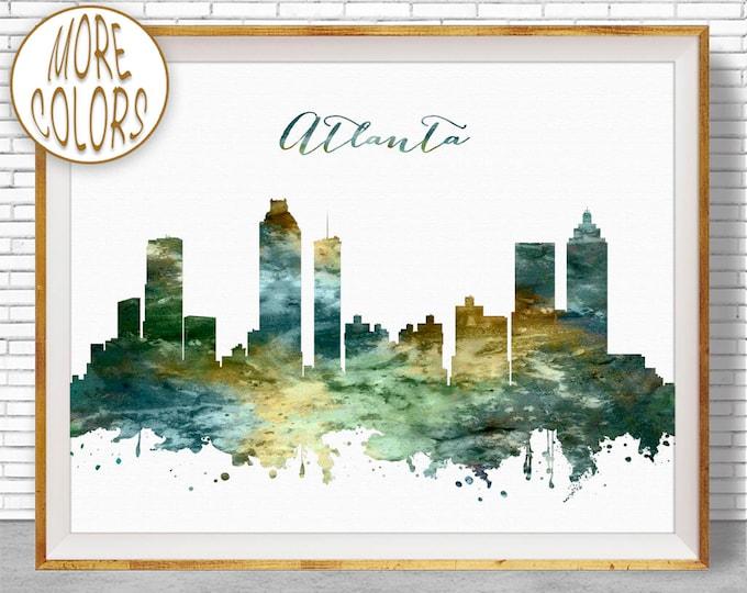 Atlanta Print Atlanta Skyline Atlanta Georgia City Scape Office Decor Office Art Watercolor Skyline Travel Art Prints ArtPrintZone