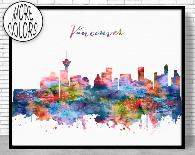 Vancouver Skyline Vancouver Print Vancouver Canada Office Decor Office Art Watercolor Skyline Watercolor City Print ArtPrintZone