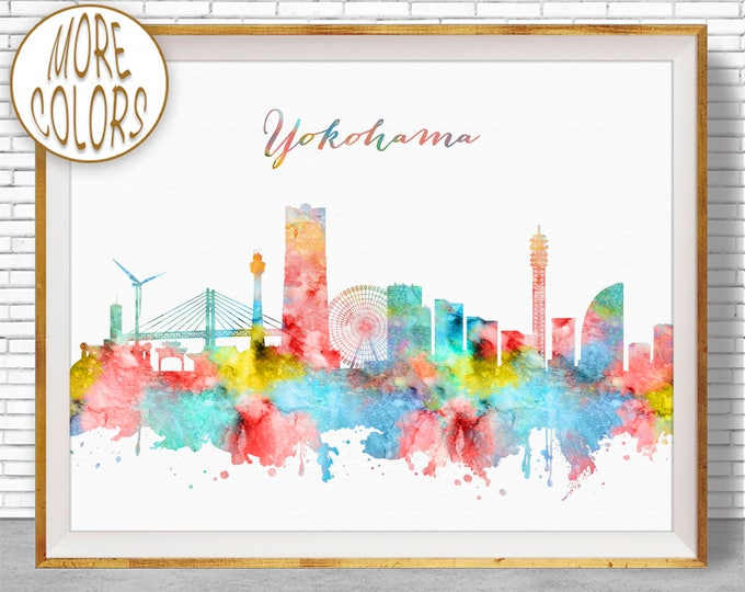 Yokohama Print, Yokohama Skyline, Yokohama Japan, Office Decor, Office Art, Watercolor Skyline, Watercolor City Prints, ArtPrintZone