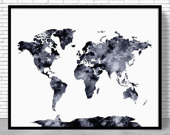 World Map Print World Print World Map Wall Art Print World Map Poster Office Prints Office Art Travel Poster Travel Art Prints ArtPrintZone