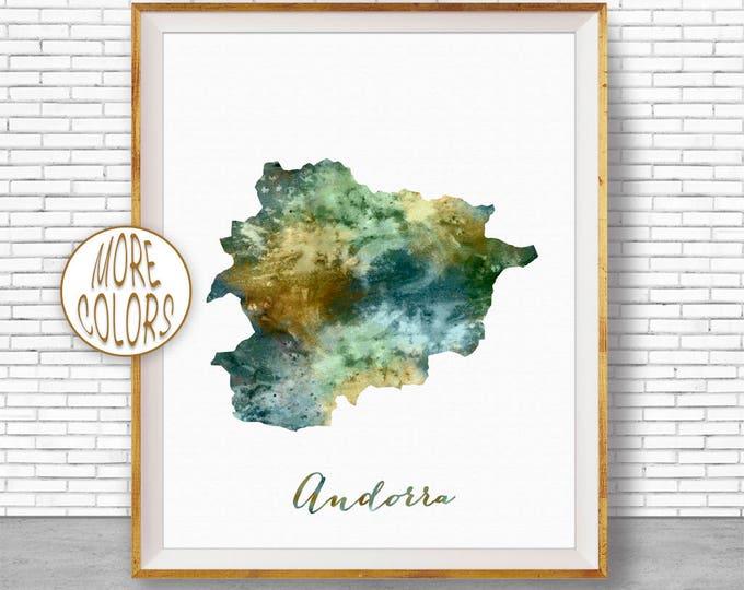 Andorra Map Print Andorra Print Watercolor Map Map Painting Map Artwork  Office Decorations Country Map ArtPrintZone