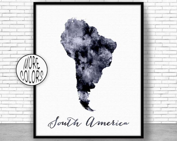 South America Map South America Print Map of South America USA Map Wall Art Print Travel Map Travel Decor Office Decor Office Wall Art