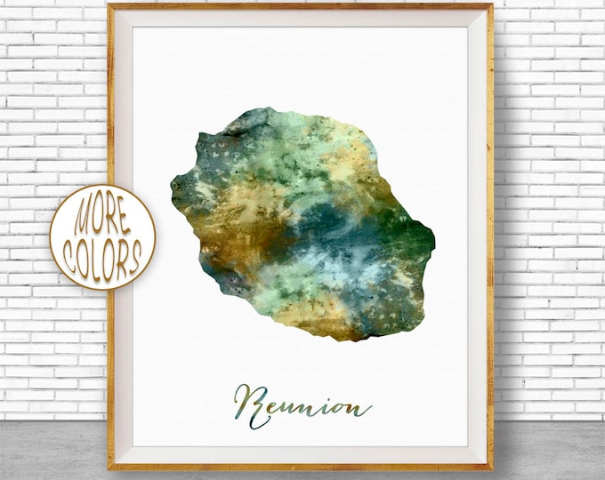 Reunion Art Travel Map Reunion Map Art Travel Decor Travel Prints Living Room Wall Art Office Pictures ArtPrintZone