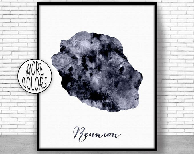 Reunion Print Travel Map Reunion Map Print Travel Decor Travel Prints Living Room Wall Art Office Pictures ArtPrintZone