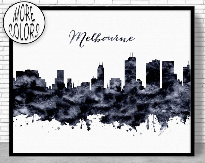 Melbourne Print City Skyline Prints Melbourne Australia Melbourne Skyline City Skyline Art Office Wall Art ArtPrintZoneGift for Women