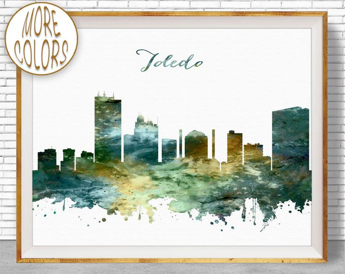 Toledo Print Toledo Skyline City Wall Art Toledo Ohio Office Wall Decor City Skyline Prints Office Poster ArtPrintZone