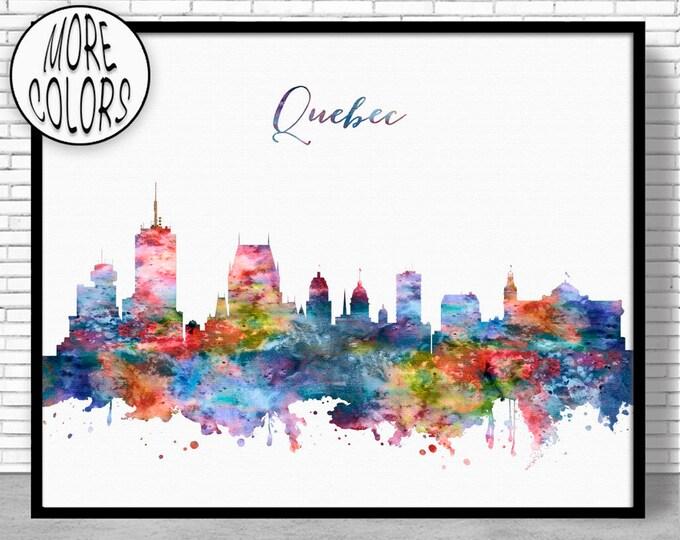 Quebec Print, Quebec Skyline, Quebec Canada, Office Decor, Office Art, Watercolor Skyline, Watercolor City Print, ArtPrintZone