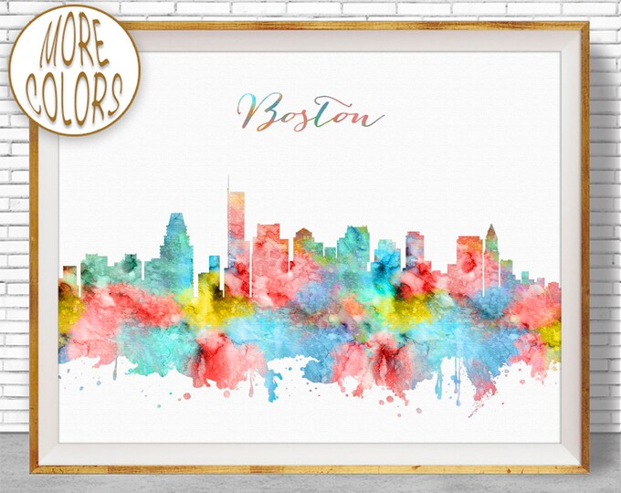 Boston Skyline Boston Art Print Boston Massachusetts Office Prints Office Art Travel Poster City Wall Art City Art ArtPrintZone