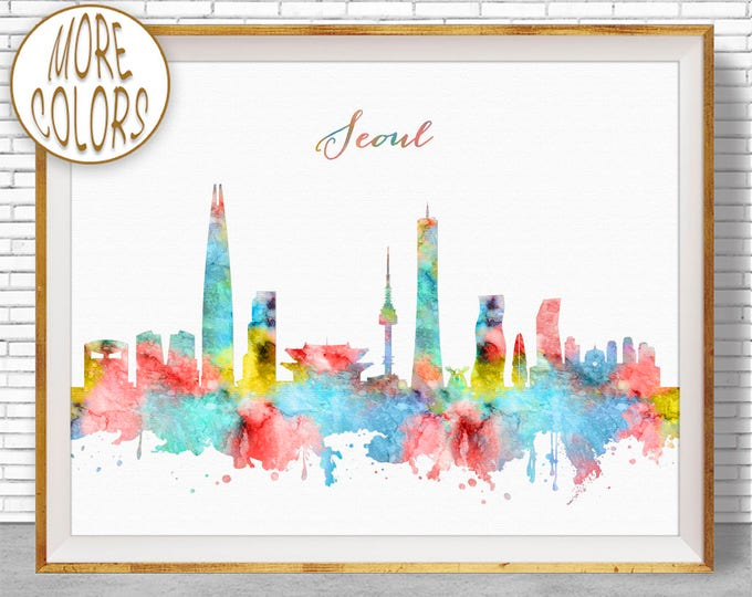 Seoul Print, Seoul Skyline, Seoul South Korea, Office Decor, City Skyline Prints, Skyline Art, Cityscape Art, ArtPrintZone