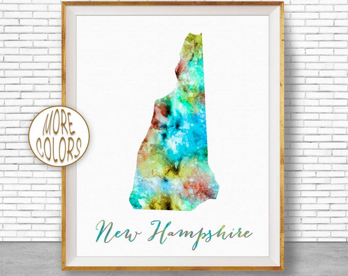 New Hampshire State New Hampshire Decor New Hampshire Print New Hampshire Map Art Print Map Print Watercolor Map Office Art ArtPrintZone
