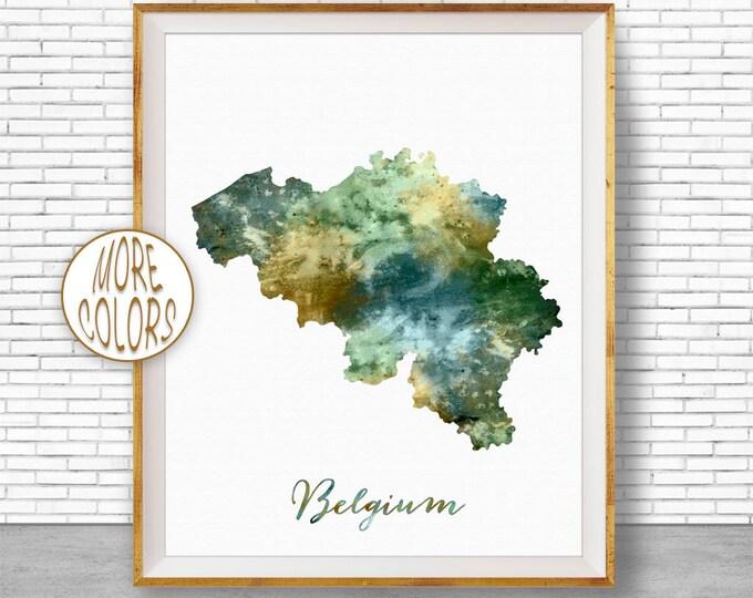 Belgium Map Art Belgium Print Watercolor Map Map Painting Map Artwork  Office Decorations Country Map ArtPrintZone