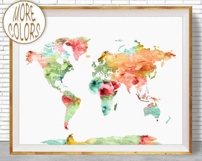 World Map Wall Art World Print World Map Print World Map Poster Office Prints Office Art Travel Poster Travel Art Prints ArtPrintZone