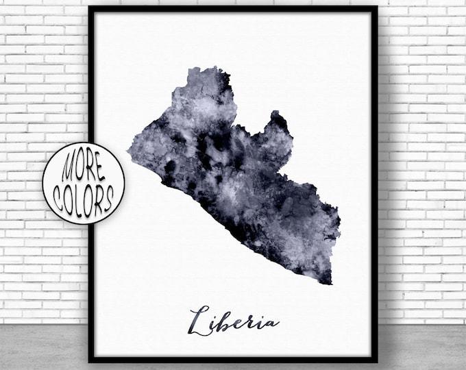 Liberia Print Watercolor Map Liberia Map Print Office Wall Decor Office Wall Art Living Room Art Map Decor Map Wall ArtPrintZone