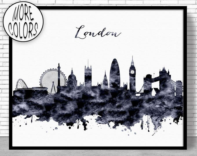 London Skyline London Print London United Kingdom Office Decor Office Art Watercolor Skyline Watercolor City Print ArtPrintZone