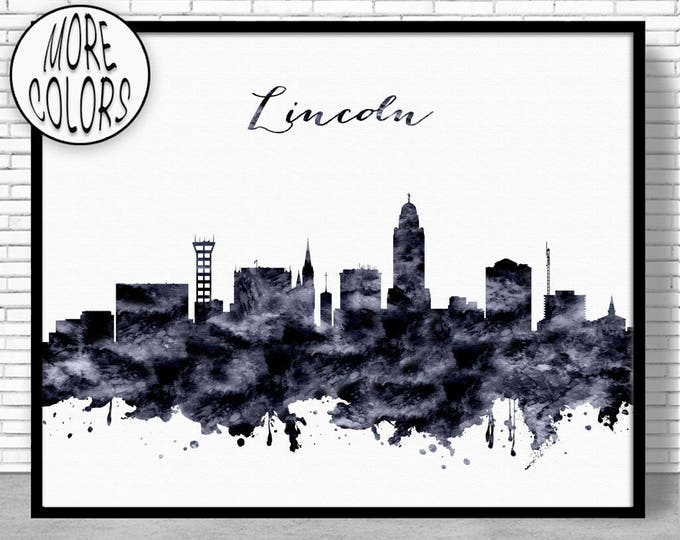 Lincoln Print Lincoln Skyline Lincoln Nebraska Office Decor City Wall Art City Skyline Prints Skyline Art ArtPrintZone