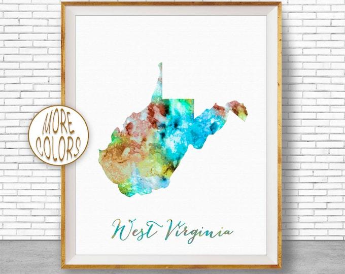 West Virginia Map Art Print West Virginia Print West Virginia Art Office Print Watercolor Map Office Poster Office Decor ArtPrintZone
