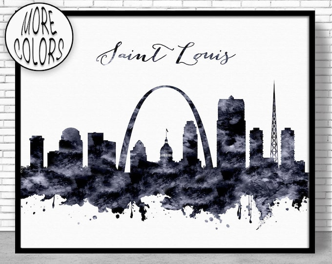 Saint Louis Print Saint Louis Skyline Saint Louis Missouri Office Decor City Skyline Prints Skyline Art ArtPrintZone
