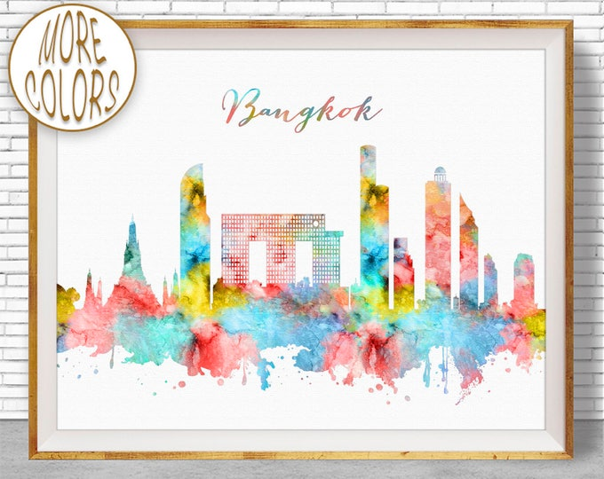 Bangkok Print, Bangkok Thailand, Bangkok Skyline, Office Decor, Office Art, Watercolor Skyline, Watercolor City Posters, ArtPrintZone