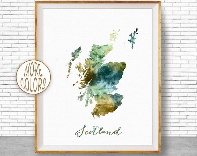 Scotland Map Art Scotland Print Watercolor Map Map Painting Map Artwork  Office Decorations Country Map ArtPrintZone