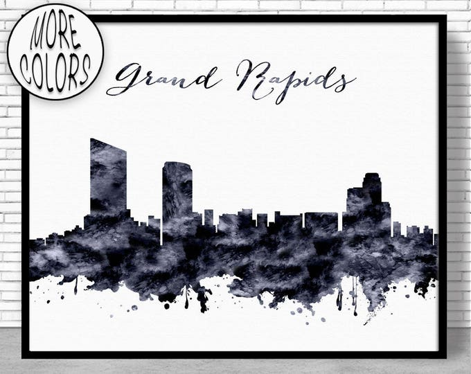 Grand Rapids Print Grand Rapids Skyline Grand Rapids Michigan Office Decor Office Art Travel Poster City Art Print ArtPrintZone