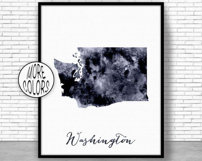 Washington Art Washington Decor Washington Print Washington Map Art Print Office Art Watercolor Map Office Poster Office Decor ArtPrintZone