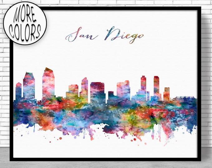 San Diego Skyline San Diego Print San Diego California Office Decor City Skyline Prints Skyline Art ArtPrintZone