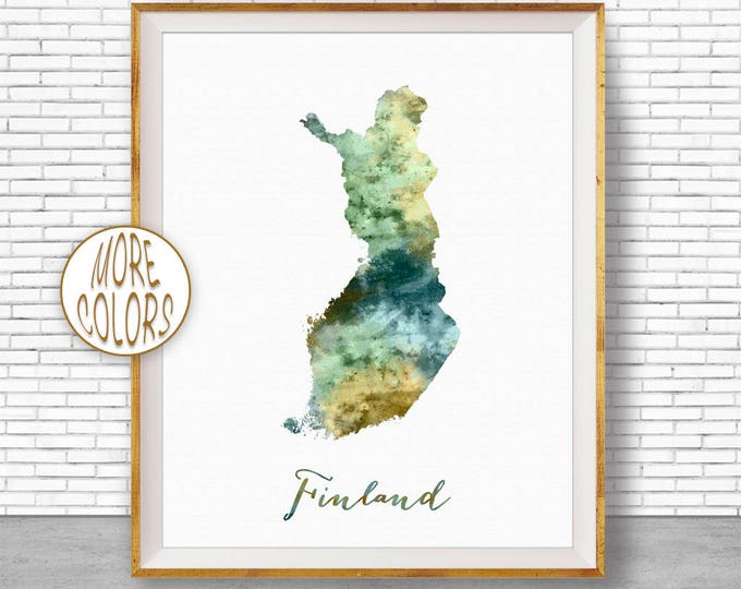 Finland Map Art Finland Print Watercolor Map Map Painting Map Artwork  Office Decorations Country Map ArtPrintZone