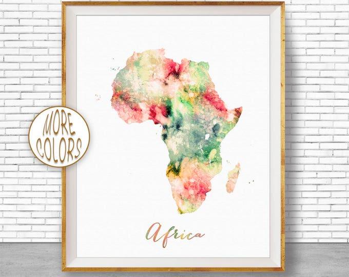 Africa Continent Africa Map Africa Print Map of Africa Map Wall Art Print Travel Map Travel Decor Office Decor Office Wall ArtGift for Women