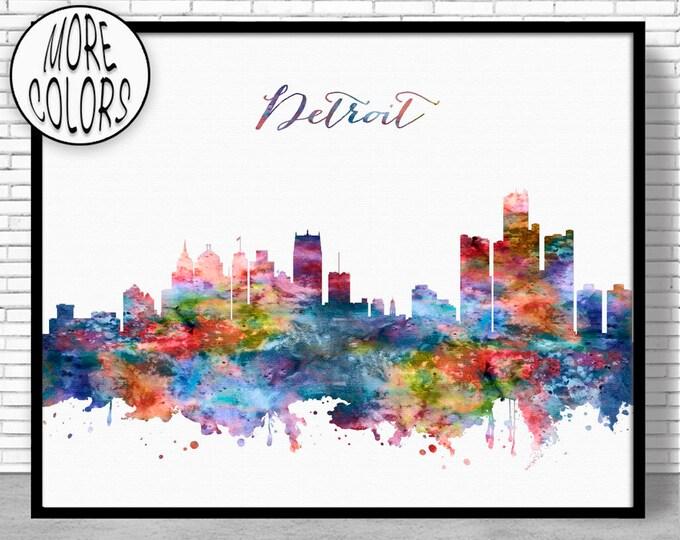 Detroit Skyline Detroit Print Detroit Michigan Office Decor Office Art Watercolor Skyline Watercolor City Print ArtPrintZoneGift for Women