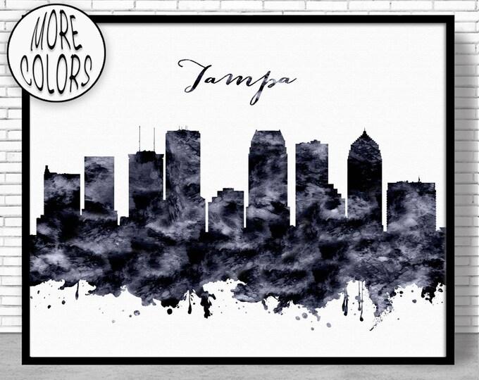 Tampa Print Tampa Skyline Tampa Florida Office Decor City Skyline Prints Skyline Art ArtPrintZone