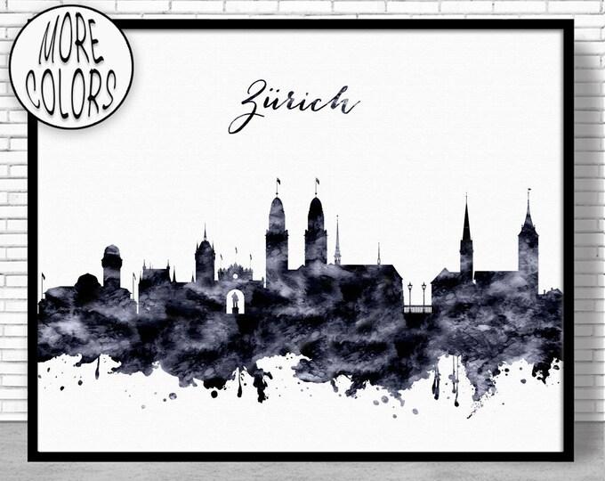 Zurich Print Zurich Skyline Zurich Switzerland Office Decor Office Art Watercolor Skyline Watercolor City Prints ArtPrintZoneGift for Women