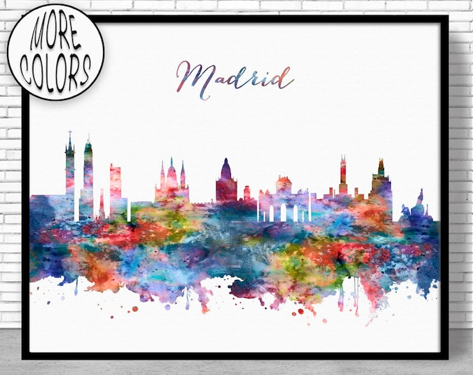 Madrid Print, Madrid Skyline, Madrid Spain, Office Decor, Office Art, City Skyline Prints, Skyline Art, Cityscape Art, ArtPrintZone