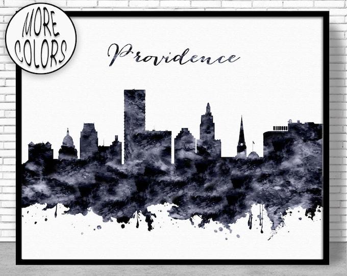 Providence Print Providence Skyline Providence Rhode Island Office Decor City Skyline Prints Skyline Art ArtPrintZone