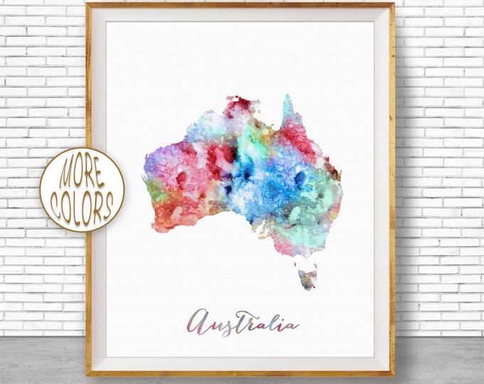 Australia Map Art Australia Print Watercolor Map Map Painting Map Artwork  Office Decorations Country Map ArtPrintZone