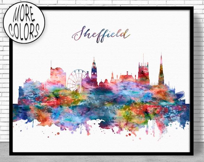 Sheffield Print, Sheffield Skyline, Sheffield United Kingdom Office Decor Office Art Watercolor Skyline, Watercolor City Print, ArtPrintZone