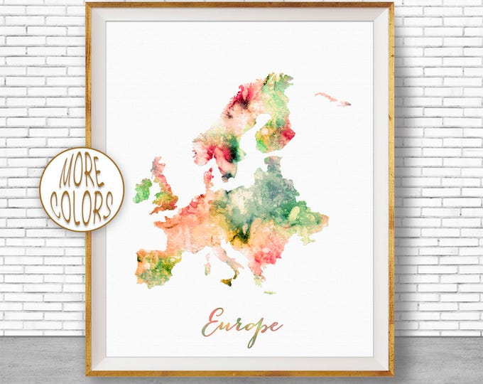 Europe Map Europe Print Map of Europe Europe Continent Map Wall Art Print Travel Map Travel Decor Office Decor Office Wall ArtGift for Women