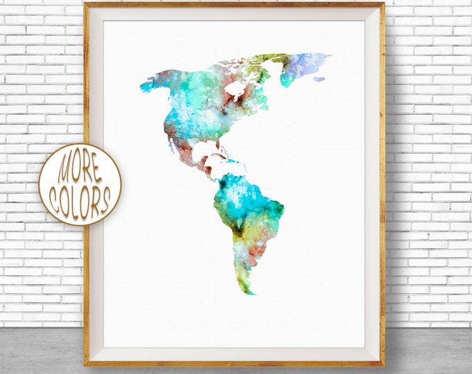 The Americas Print The Americas Map Living Room Decor Map Wall Art Print Travel Map Travel Decor Office Decor Office Wall Art ArtPrintZone