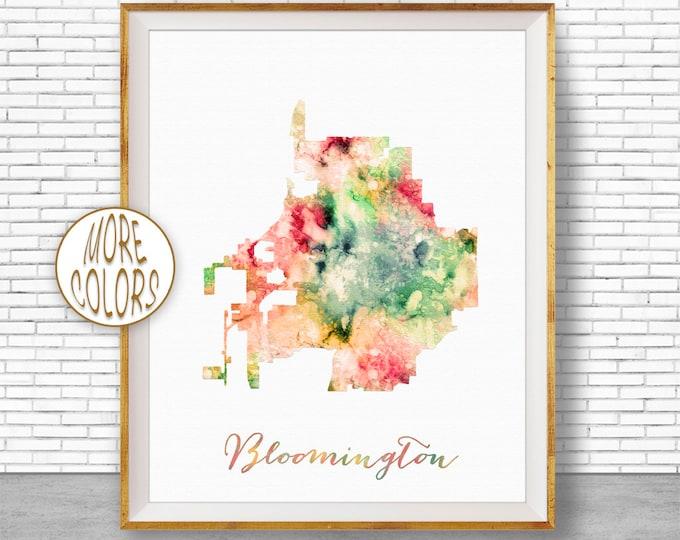 Bloomington City Map, Office Decor, Bloomington Print, Office Art, Watercolor City Map, Watercolor City Print, ArtPrintZone