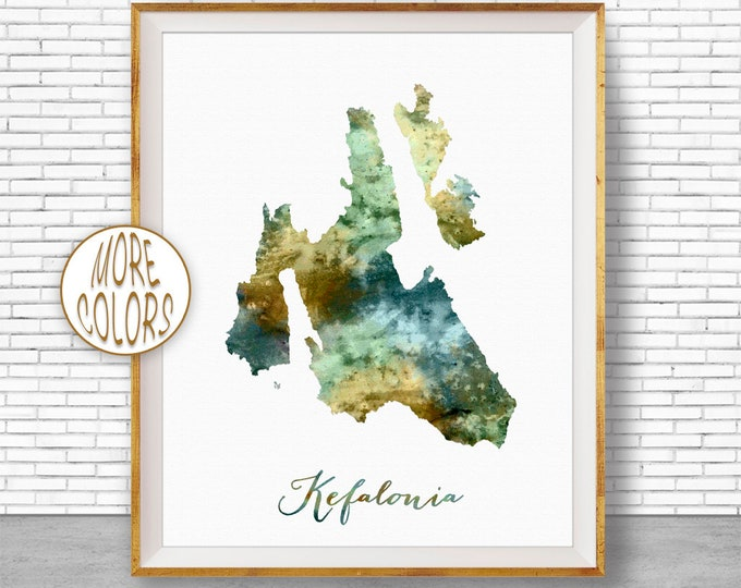Kefalonia Map Art Greek Islands Kefalonia Greece Kefalonia Print Watercolor Map Map Painting Office Decorations Country Map ArtPrintZone